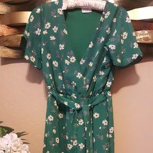 V-Neck Flower Dress
